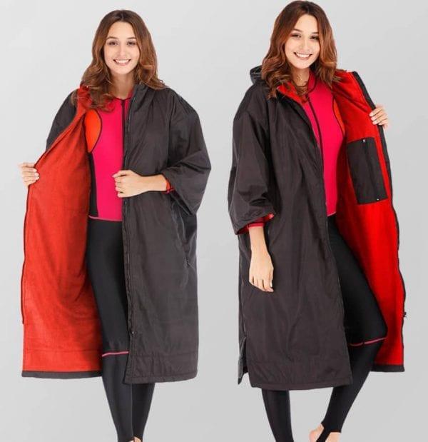 A Swim Robe - Black-Red