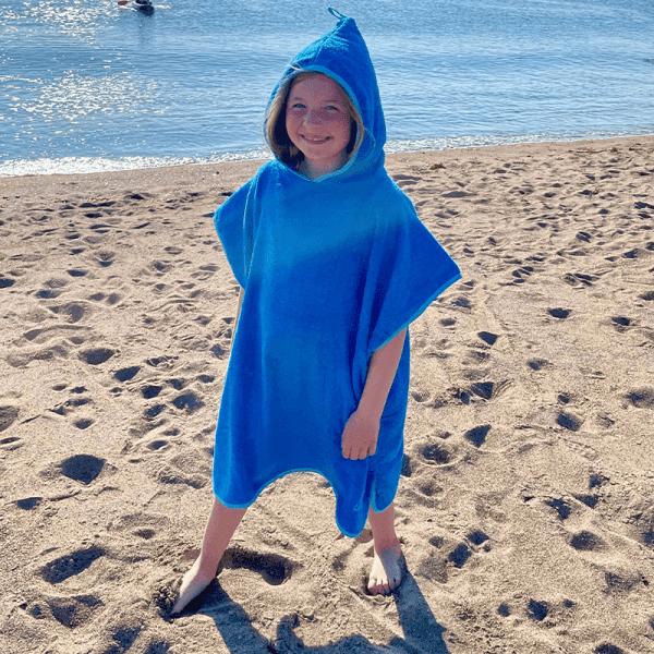 Blue Kids Poncho at Beach
