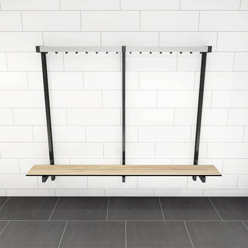Wall Mounted Bench with Coat Rail Front View